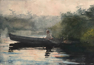 Painting - The End Of The Day Adirondacks by Winslow Homer