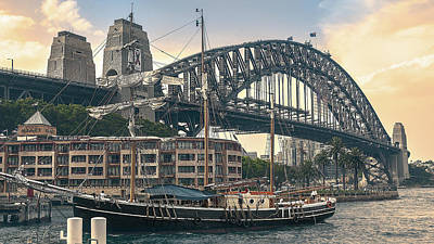 Sydney Skyline Photograph - The Endeavour And The Bridge by Emanuele Carlisi