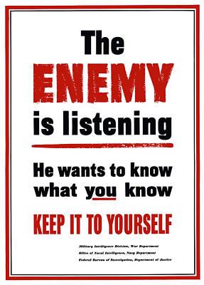 Digital Art - The Enemy Is Listening - Ww2 by War Is Hell Store
