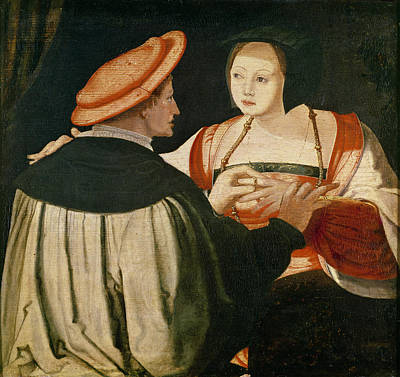 Netherlands Painting - The Engagement by Lucas van Leyden