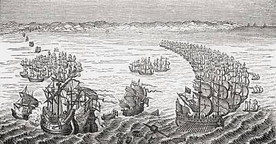 Drake Drawing - The English Fleet Commanded By Sir by Vintage Design Pics