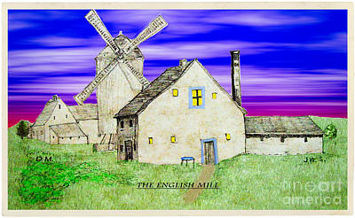 Digital Art - The English Mill V5 by Donna L Munro
