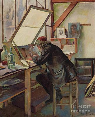 Desk Painting - The Engraver Marcellin Desboutin by Ferdinand Hodler