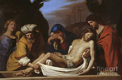 Blessed Virgin Painting - The Entombment by Guercino