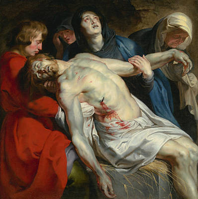 Biblical Painting - The Entombment  by Peter Paul Rubens