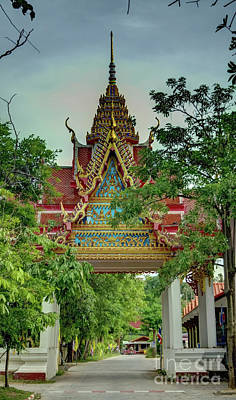 Photograph - the entrance of Plai Laem Temple by Michelle Meenawong
