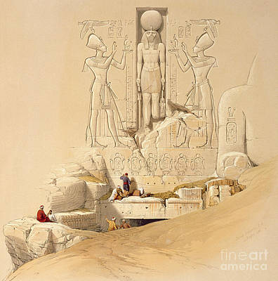 Archaeology Reliefs Painting - The Entrance To The Great Temple Of Abu Simbel by David Roberts