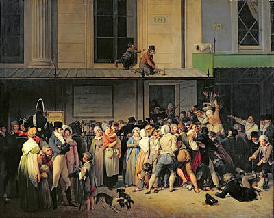 Queue Painting - The Entrance To The Theatre Before A Free Performance by Louis Leopold Boilly