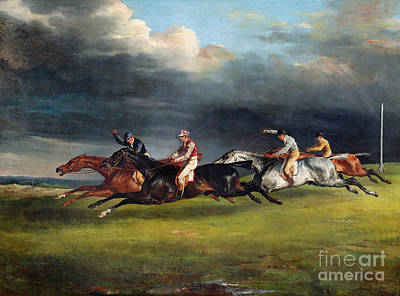 Whipping Wall Art - Painting - The Epsom Derby by Theodore Gericault