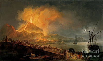 Flare Painting - The Eruption Of Mt Vesuvius by Celestial Images