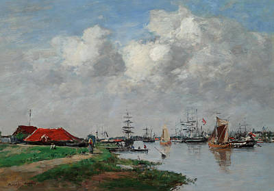 Painting - The Escaut River In Antwerp by Eugene Louis Boudin