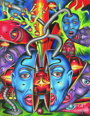 Drawing - The Esoteric Force Of Molecular Mentality by Justin Jenkins