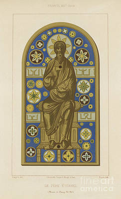 Icon Drawing - The Eternal Father by French School