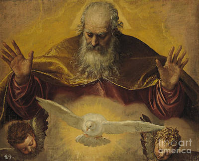 Halos Painting - The Eternal Father by Paolo Caliari Veronese