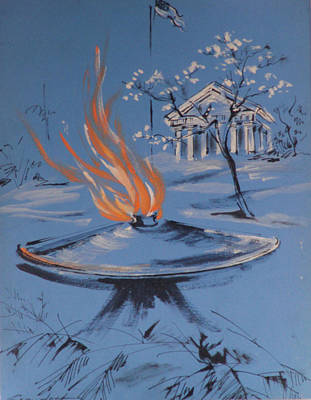 Cemetary Painting - The Eternal Flame by Lily Spandorf