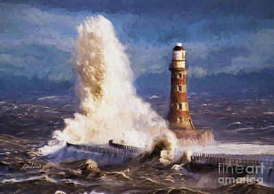 Lighthouse Mixed Media - The Eternal Force Of Waves. by Garland Johnson