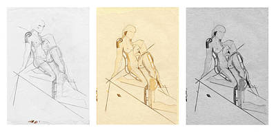 Drawing - The Eternal Idol - Triptych - Homage Rodin by David Hargreaves