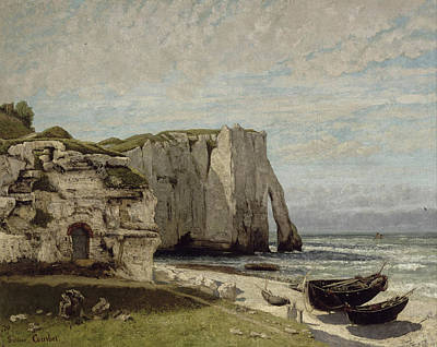 Realism Painting - The Etretat Cliffs After The Storm by Gustave Courbet