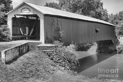 Photograph - The Eugene Covered Bridge Black And White by Adam Jewell