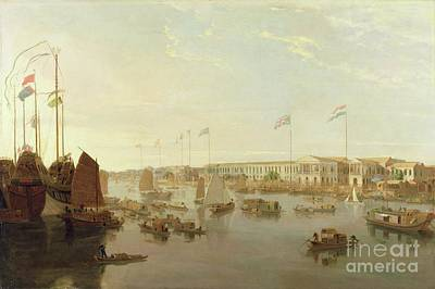 Flags Painting - The European Factories - Canton by William Daniell