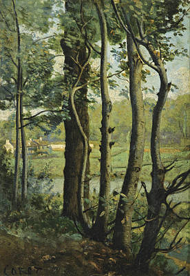 Painting - The Evaux Near Chateau-thierry A Path Bordered By Trees by Jean-Baptiste-Camille Corot