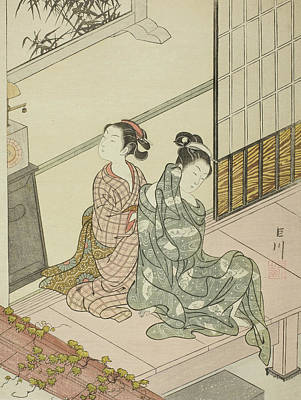 Character Portraits Drawing - The Evening Bell Of The Clock  by Suzuki Harunobu
