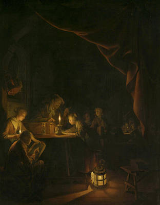 Dow Painting - The Evening by Gerrit Dou