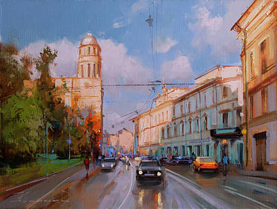 Moscow Wall Art - Painting - The Evening Is At Hand. Moscow, Ilyinka Street by Alexey Shalaev