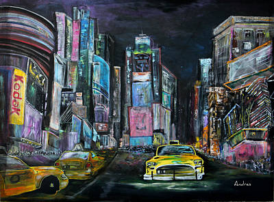 Painting - The Evening Of Time Square by Andres Gonzalez