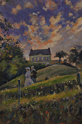 Holland Painting - The Evening Stroll Around The Hoeve Zonneberg by Nop Briex