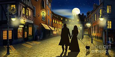 Moon Night Dark Dog Digital Art - The Evening Walk by Monika Juengling
