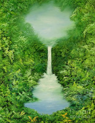 Waterfalls Painting - The Everlasting Rain Forest by Hannibal Mane
