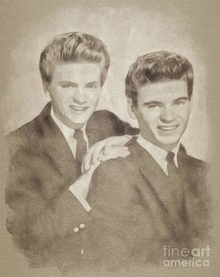 Musicians Drawings - The Everly Brothers, Music Legends by John Springfield by John Springfield