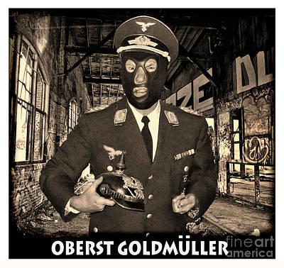 Digital Art - The Evil Pro Wrestling Manager Oberst Goldmuller Portrait by Jim Fitzpatrick