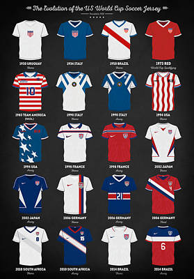 Digital Art - The Evolution Of The Us World Cup Soccer Jersey by Taylan Apukovska