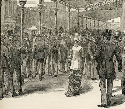 Bustle Drawing - The Exchange At The Hall Of Commerce by Vintage Design Pics
