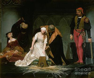 Priest Painting - The Execution Of Lady Jane Grey by Hippolyte Delaroche
