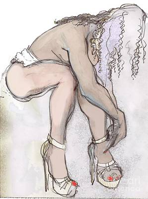 Painting - The Exotic Erotic Cindy Tying Her Shoe by Carolyn Weltman
