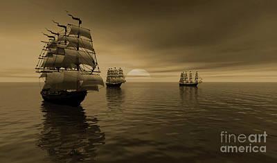 The Explorer Night Voyage Art Print by Heinz G Mielke