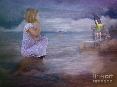 Digital Art - The Explorers Underneath The Night Sky At The Seashore by Mary Lou Chmura