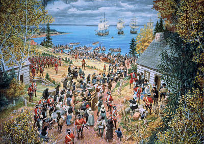 Acadian Painting - The Expulsion Of The Acadians by Lewis Parker