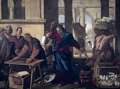 The Expulsion Of The Money Changers From The Temple Art Print by Aniello Falcone