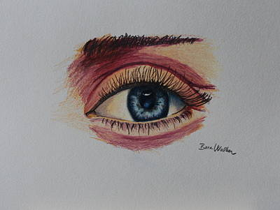 Colored Pencils Drawing - The Eye by Bara Walker