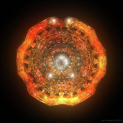 Cgi Digital Art - The Eye Of Cyma - Fire And Ice - Frame 160 by Jules Gompertz
