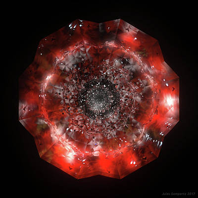 Glass Wall Art - Digital Art - The Eye Of Cyma - Fire And Ice - Frame 49 by Jules Gompertz