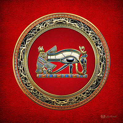 Eye Photograph - The Eye Of Horus On Red by Serge Averbukh