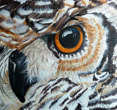 Painting - The Eye Of The African Eagle Owl by Joan Mansson