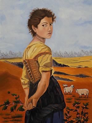 Ruben Carrillo Wall Art - Painting - The Eyes Of A Shepherd Girl by Ruben Carrillo