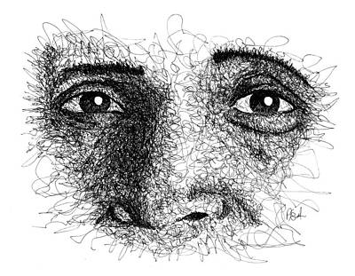 Drawing - The Eyes Of Ramana by Peter Cutler