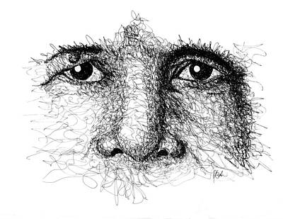 Drawing - The Eyes Of Thich Nhat Hanh by Peter Cutler